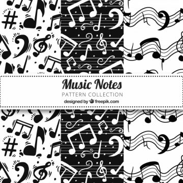 Free vector Black and white music notes pattern #17574