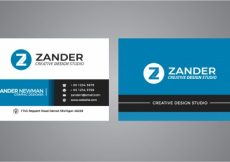 Free vector Blue and black business card #16695