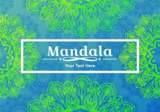 Free vector Blue background of green mandalas #13149
