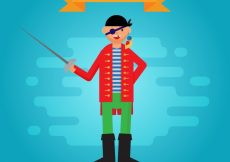 Free vector Blue background of pirate character in flat design #13872