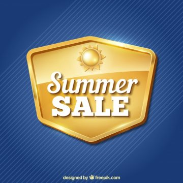 Free vector Blue background with golden insignia of summer sales #14731