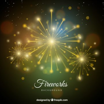 Free vector Blurred bokeh background with golden fireworks #18405