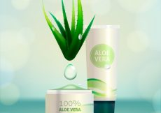 Free vector Bokeh background with aloe vera cosmetic products #16382