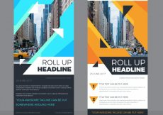 Free vector Business roll up with blue and orange forms #13838