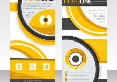 Free vector Business roll up with orange abstract forms #13834