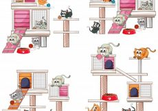 Free vector Cats and different designs of cat house illustration #13537