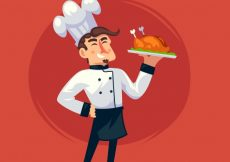 Free vector Cheerful chef holding a cooked chicken #15157