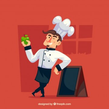 Free vector Chef next to a chalkboard holding an apple #15159