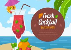 Free vector Cocktail background on the beach in flat design #17766