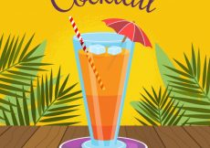 Free vector Cocktail background with palm leaves #17750