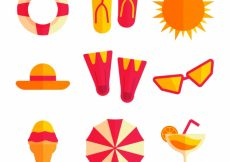 Free vector Collection of beach elements in flat design #14767