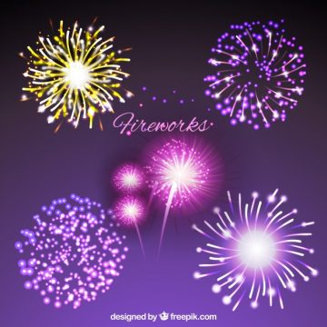 Free vector Collection of bright fireworks #18399