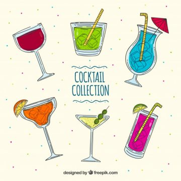 Free vector Collection of hand-drawn cocktails #18202