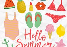 Free vector Collection of hand drawn summer elements in vintage style #14493