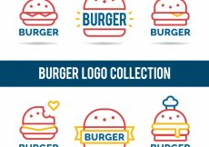 Free vector Collection of linear logos with burgers #13339