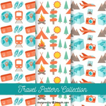 Free vector Collection of travel and camping patterns #18425