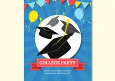Free vector College party brochure with colorful balloons #15625
