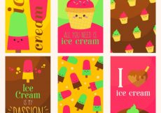 Free vector Colorful collection of fantastic ice cream cards #13427