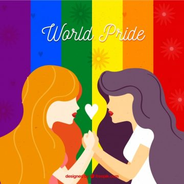 Free vector Colorful striped background with female couple #16667