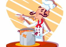 Free vector Concentrated chef cooking soup #15155