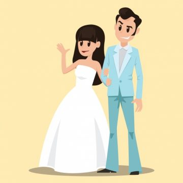 Free vector Cute wedding couple background #15789