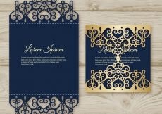Free vector Elegant card with laser cut and gold detail #16987