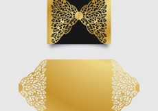 Free vector Elegant golden invitation with laser cut #17199