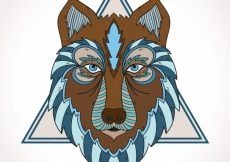 Free vector Ethnic wolf with triangle #16217