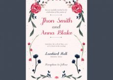 Free vector Fantastic wedding invitation with flowers painted with watercolor #15339