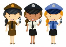 Free vector Female police in three different uniforms illustration #13762
