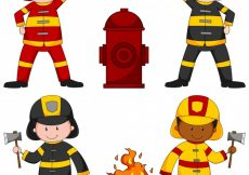 Free vector Firefighters and many equipments illustration #13451