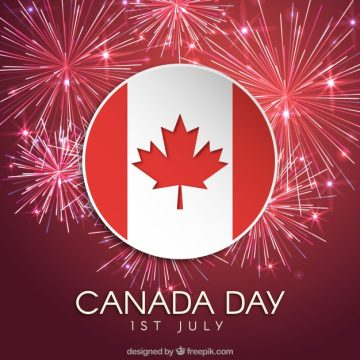 Free vector Fireworks background with flag of canada #18131