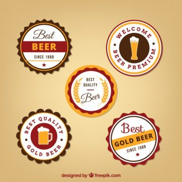 Free vector Five round beer labels #15323