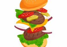 Free vector Flat background with double burger and tasty ingredients #13347