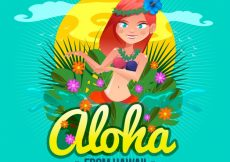 Free vector Flat design aloha dance background #17450