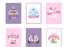 Free vector Flat design happy birthday cards collection #17899