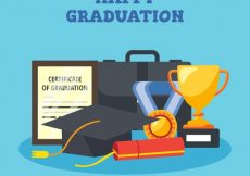 Free vector Flat graduation background with decorative elements #15959