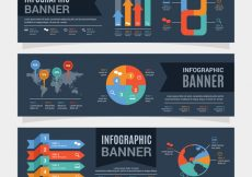Free vector Flat infographic banners with colored charts #15213