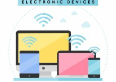 Free vector Flat wifi background with electronic devices #14785