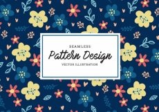 Free vector Floral pattern on blue background #18931