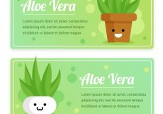 Free vector Funny aloe vera banners with flowerpots #16352