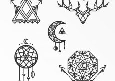 Free vector Geometric ethnic tattoo collection #17790