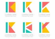 Free vector Geometric logo letter k template collection #17724