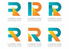 Free vector Geometric logo letter r template collection #17714