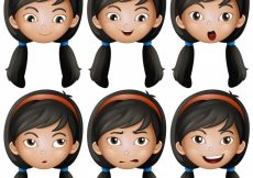 Free vector Girl with different emotions illustration #13744