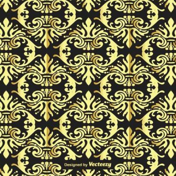 Free vector Gold and Black Damask Background #14854