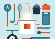 Free vector Great assortment of flat cook elements with red details #14421