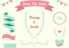 Free vector Great wedding items in pastel colors #13163