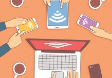 Free vector Hand-drawn background of people with electronic devices #14823