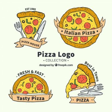 Free vector Hand drawn cheesy pizza logo collection #17653